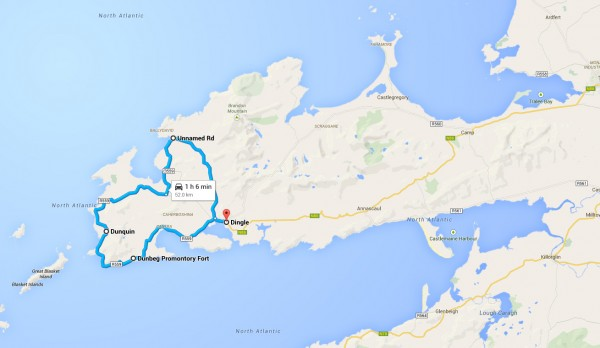 The typical route for Slea Head Drive, best done clockwise