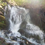 A small waterfall on the steep descent down from the spring